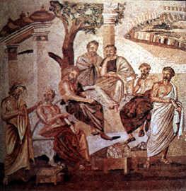 Pompeian mosaic shows a meeting of philosophers